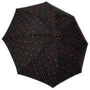 1101-BK [雨晴兼用 リボンドット ショートワイド雨傘 ブラック 60cm スライド式中棒]