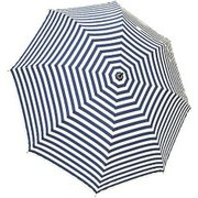 1111-OW×NV [雨晴兼用 ボーダー柄 ショートワイド竹手元雨傘 オフホワイト×ネイビー 60cm スライド式中棒]