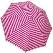 1116-OW×PK [雨晴兼用 ボーダープリント ショートワイド雨傘 オフホワイト×ピンク 60cm スライドしないタイプ]