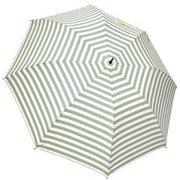 1116-OW×GR [雨晴兼用 ボーダープリント ショートワイド雨傘 オフホワイト×グリーン 60cm スライドしないタイプ]