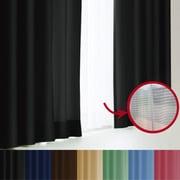 エール カーテン&レースセット BK 100x135 4P [遮光性カーテン&ミラーレースカーテン ピュアブラック 幅100×丈135cm 4枚セット]