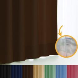 エール カーテン&レースセット BR 150x190 2P [遮光性カーテン&ミラーレースカーテン チョコレート 幅150×丈190cm 2枚セット]