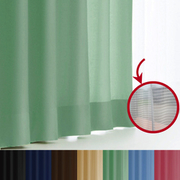 エール カーテン&レースセット GN 150x135 2P [遮光性カーテン&ミラーレースカーテン エメラルドグリーン 幅150×丈135cm 2枚セット]