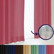 エール カーテン&レースセット PK 100x220 4P [遮光性カーテン&ミラーレースカーテン コスメピンク 幅100×丈220cm 4枚セット]