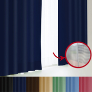 エール カーテン&レースセット NV 100x150 4P [遮光性カーテン&ミラーレースカーテン ロイヤルブルー 幅100×丈150cm 4枚セット]