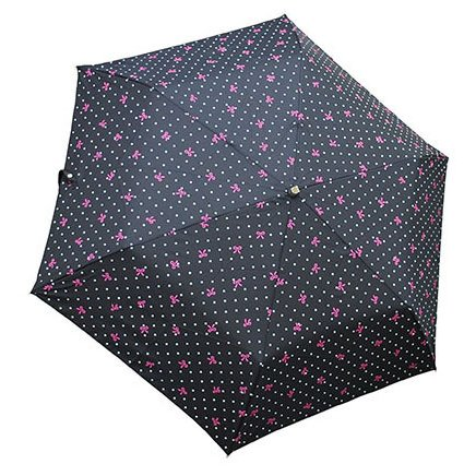 1301-BK [リボンドット 折りたたみ雨傘 ブラック ポリエステル100% 50cm 楽折りミニ]