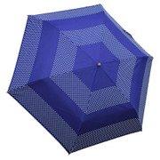 1304-NV [ドットボーダー 折りたたみ雨傘 ネイビー ポリエステル100% 50cm 楽折りミニ]
