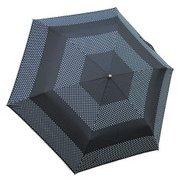 1304-BK [ドットボーダー 折りたたみ雨傘 ブラック ポリエステル100% 50cm 楽折りミニ]
