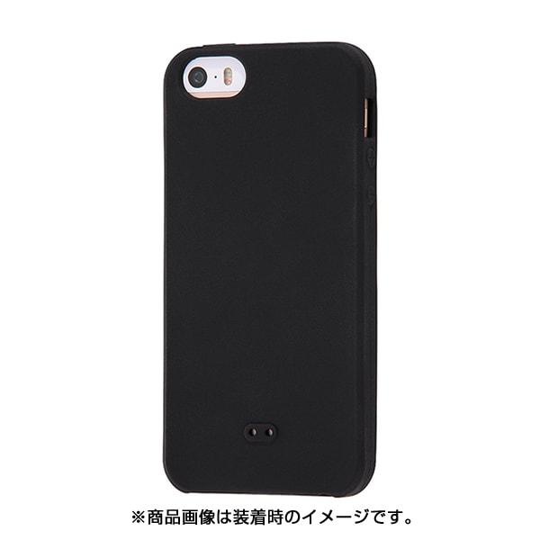 INA-P17C1/B [iPhone SE/5s/5 シリコンケース ノーダスト ブラック]