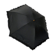 27518BK [折りたたみ傘 晴雨兼用 C/C 裾フリルレース ブラック 50cm 楽折りミニ]