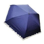 27572NV [折りたたみ傘 晴雨兼用 C/C レースフリル×ドット柄 ネイビー 50cm 楽折りミニ]