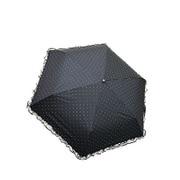 27572BK [折りたたみ傘 晴雨兼用 C/C レースフリル×ドット柄 ブラック 50cm 楽折りミニ]