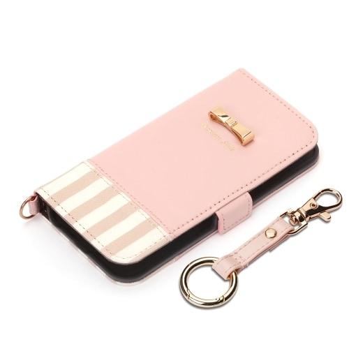 PG-18EFP09PK [iPhone SE/iPhone 5s/iPhone 5用 フリップカバー ストライプリボン ピンク]