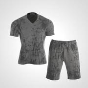 MA038MGY [3DロゴプリントTシャツ&ハーフパンツ2 M グレー]