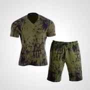 MA038XLKH [3DロゴプリントTシャツ&ハーフパンツ2 XL カーキ]