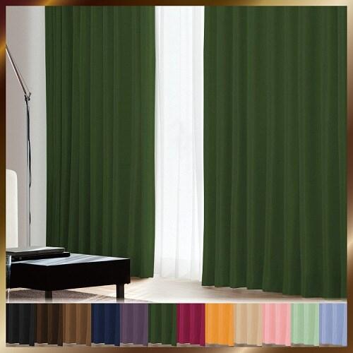 アラカルト 1級遮光カーテン リーフグリーン 幅100×丈135cm 2枚組