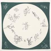 むす美 ふろしき 鳥獣人物戯画 丸窓 モスグリーン 68cm