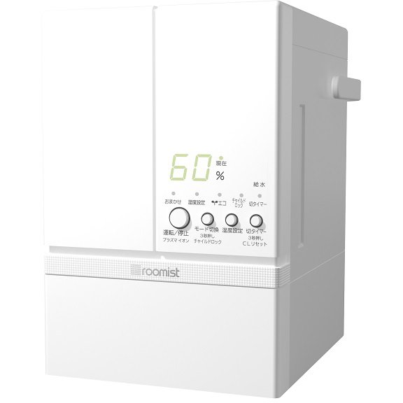 SHE60RD-W [roomist(ルーミスト) スチームファン蒸発式加湿器 木造10畳まで/プレハブ洋室17畳まで 加湿量600mL/h ピュアホワイト]