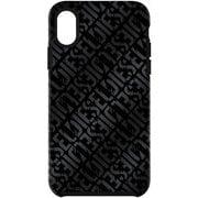 DIPH-021-DLBLK [iPhone XS Max用 DIESEL COMOLD CASE -Distressed Logo Pattern Black/Black Foil DoubleI ML]
