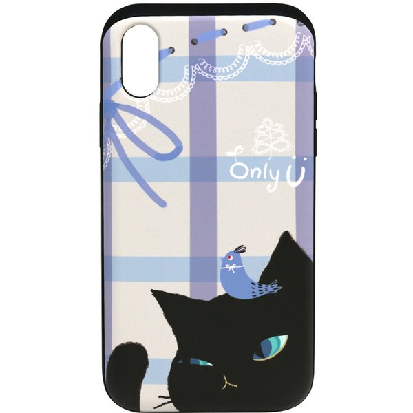 HM14456i58 Card slide Cat Couple BK [iPhone XS用]