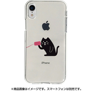 DS14822i61 [iPhone XR用 ソフトクリアケース 糸電話 聞くネコ]