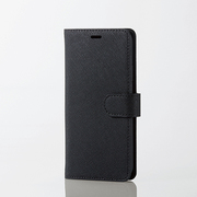 PM-A18BPLFYSBK1 [iPhone XS用 ソフトレザーカバー サフィアノ スナップ付 ブラック]