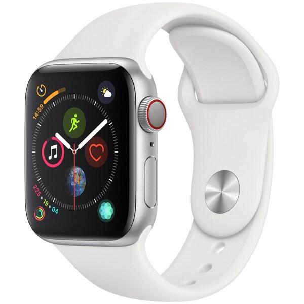 Apple Watch Series 4(GPS+Cellularモデル)- 40mm シルバーアルミニウムケース と ホワイトスポーツバンド [MTVA2J/A]
