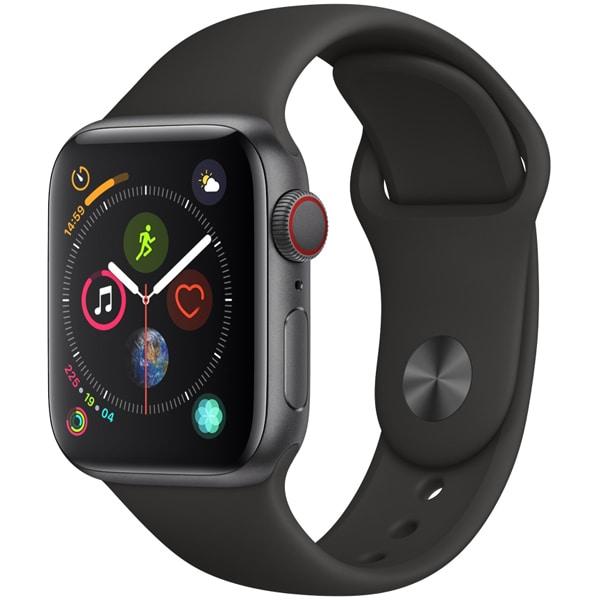 Apple Watch Series 4(GPS+Cellularモデル)- 40mm スペースグレイアルミニウムケース と ブラックスポーツバンド [MTVD2J/A]
