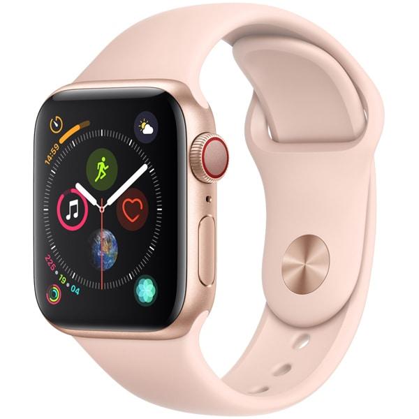 Apple Watch Series 4(GPS+Cellularモデル)- 40mm ゴールドアルミニウムケース と ピンクサンドスポーツバンド [MTVG2J/A]