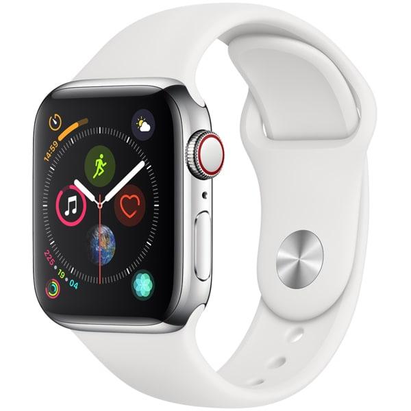 Apple Watch Series 4(GPS+Cellularモデル)- 40mm ステンレススチールケース と ホワイトスポーツバンド [MTVJ2J/A]