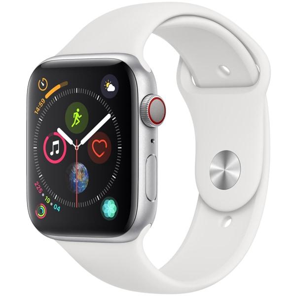 Apple Watch Series 4(GPS+Cellularモデル)- 44mm シルバーアルミニウムケース と ホワイトスポーツバンド [MTVR2J/A]