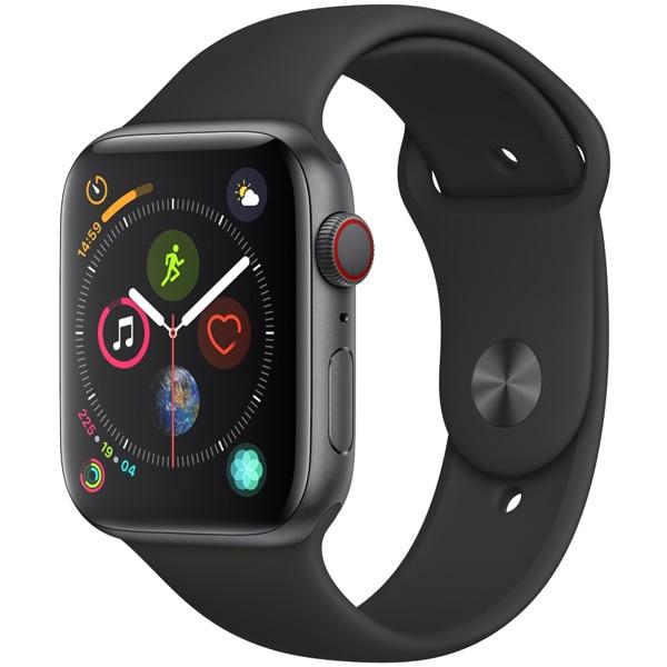 Apple Watch Series 4(GPS+Cellularモデル)- 44mm スペースグレイアルミニウムケース と ブラックスポーツバンド [MTVU2J/A]