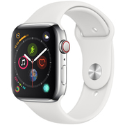 Apple Watch Series 4(GPS+Cellularモデル)- 44mm ステンレススチールケース と ホワイトスポーツバンド [MTX02J/A]