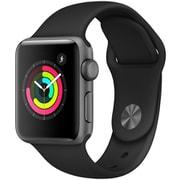 Apple Watch Series 3(GPSモデル)- 38mm スペースグレイアルミニウムケース と ブラックスポーツバンド [MTF02J/A]
