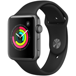 Apple Watch Series 3(GPSモデル)- 42mm スペースグレイアルミニウムケース と ブラックスポーツバンド [MTF32J/A]