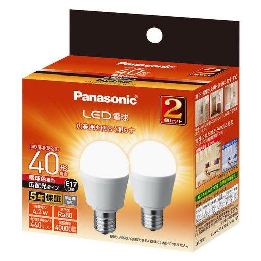 LDA4LGE17ESW2T [LED電球 E17 40形相当 440lm 電球色相当 広配光タイプ 断熱材施行器具・密閉型器具対応 2個セット]