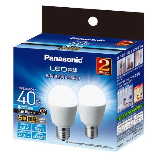 LDA4DGE17ESW2T [LED電球 E17 40形相当 440lm 昼光色相当 広配光タイプ 断熱材施行器具・密閉型器具対応 2個セット]