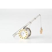 C731-GD [置時計 ミニチュアクロックコレクション 釣り竿/リール (ゴールド)]