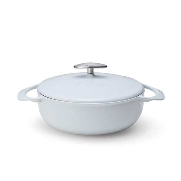 US220WH [UNILLOY キャセロール浅型 22cm(2.6L) 卯の花 鋳物ホーロー鍋]