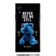 BJ-0001-IPXR-BLAK [iPhone XR ガラスケース ギズモビーズ スクエア型 ミルクボーイ SEE NO EVILBEARS BK]