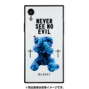 BJ-0001-IPXR-WHIT [iPhone XR ガラスケース ギズモビーズ スクエア型 ミルクボーイ SEE NO EVILBEARS WH]