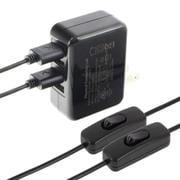 TSI-Pi039-5V5A×5B-2C [Raspberry Pi用電源セット 5V 5.0A 4USBポート Pi3×2台 フル負荷検証済 Double Cable]