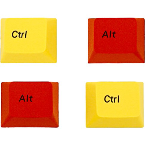 AS-CKPBS05N [PBTカラーアクセサリーキーキャップ キーキャップのみモデル 黄Ctrl/赤Altキー]