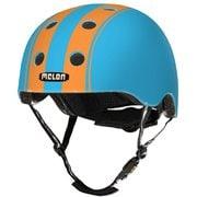 ストライプ ダブルオレンジブルー ツヤあり M-L(52cm~58cm) 幼児~小学生・ジュニア(4歳~12歳) [自転車ヘルメット]