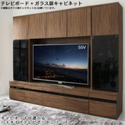 YS-217422 [ハイタイプテレビボードシリーズ Glass line 2点セット(テレビボード+キャビネット)ガラス扉 収納幅:185 収納高さ:180 収納奥行:45 収納カラー:ウォルナットブラウン]