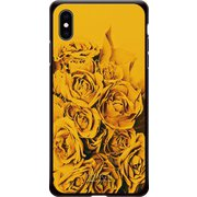 GCN-FR03-E-BK [GLASS PRINT iPhone XS Max FLORAL Yellow Rose BK]