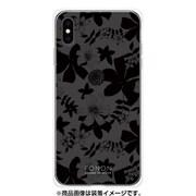 GCN-FP02-E-TL [GLASS PRINT iPhone XS Max FLORAL PATTERN Azalea Nigt Black TL]