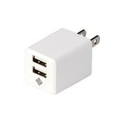 JYU-ACU01W [スマートフォン タブレット用AC充電器 USB2ポート 2.4A出力 おまかせ同時充電機能付 ホワイト]