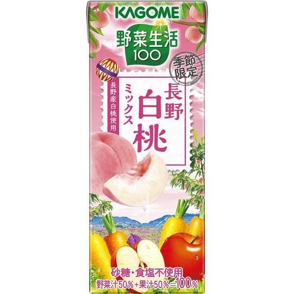 カゴメ 野菜生活100 長野白桃ミックス 195ml×24本入 [野菜果汁飲料]