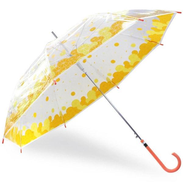 53715 [ビニール傘 つぶつぶみかん 耐風 ジャンプ 58cm レッド]